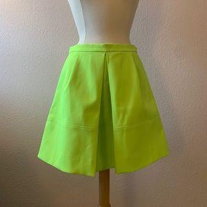 J. Crew Front Pleat Neon Skirt